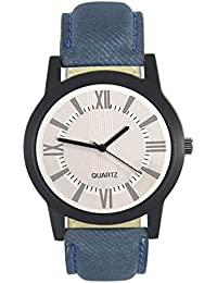 Style Keepers Attractive Stylish Sport Look White Dial Stylish Blue Leather Strap Analog Watch For Men & Boys