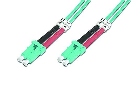 DIGITUS LWL Patch-Kabel OM3 - 2 m LC auf LC Glasfaser-Kabel - LSZH - Duplex Multimode 50/125µ - 10 GBit/s - Türkis