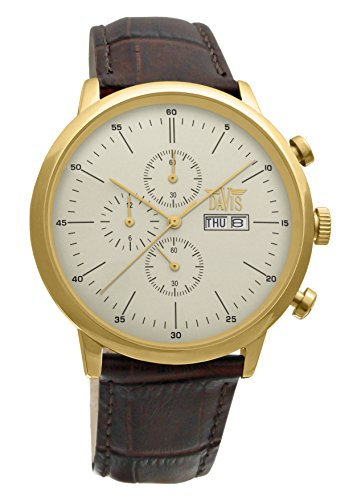 Davis 1954 - Mens Sport Watch Classic Retro Yellow Gold Case Chronograph Waterresist 50M Day Date Brown Leather Strap