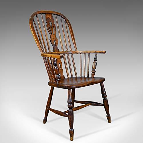 Antik Windsor Sessel, Englisch, Victorian, Stock zurück, Ellenbogen Stuhl circa 1860 -