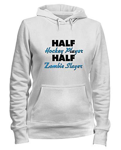 T-Shirtshock Kapuzen-Sweatshirt Frauen Weiss WTC1231 Half Hockey Player Half Zombie Slayer