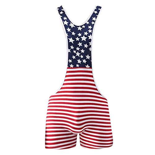 LSAltd Fashion Men American Flag Print Wrestling Singulett Unterwäsche Bodysuit Dessous Outfit Hosen Mini Print Bodysuit