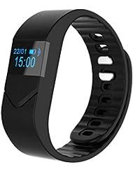 C'est M5S Fitness-Tracker, Bluetooth 4.0, IP54 wasserdicht, Kalorienzähler, Schrittzähler, Schlafmonitor, Herzfrequenzmessung, kompatibel mit iPhone 7/6/6P, iOS 6.1 und höher sowie Android 4.3 und höher M schwarz