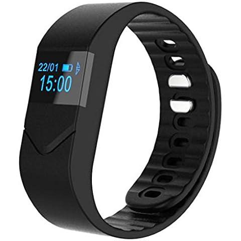 C 'est M5M Bluetooth 4.0IP54impermeable pulsera inteligente; Tracker de calorías Deporte podómetro Salud Muñequera Sleep monitor; con monitor de frecuencia cardíaca; llamada de teléfono & Mensaje sincronización; mando a distancia cámara; Compatible con Android 4.3/4.4/4,5/5.0/5.1, iOS 7.18.08.19.09.1iPhone 4S/5S/6/6S Smartphones, 0.06 pounds, color