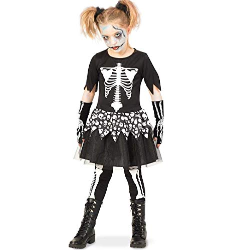 Friedhof Girl Kostüm - KarnevalsTeufel Kinderkostüm Skeleton Girl Kleid Leggins Gerippe Knochen Schwarz Gr 140 - 164 (164)