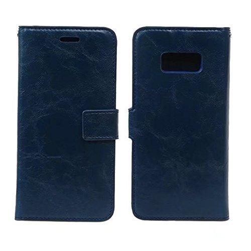 Crazy Horse Texture Flip Stand Case Geldbörse Tasche Tasche mit Card Slots & Abnehmbare Rückseite für Samsung Galaxy S8 Plus ( Color : Black ) Blue