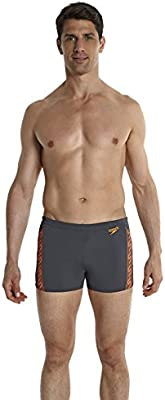 Monogram Aqua Speedo-Bañador para hombre, color Gris, oxidado, color naranja