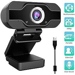 Webcam 1080P, Webcam PC pour Ordinateur de Bureau et Portable USB, Mini-caméra vidéo Call-and-Play,Gaming Stream, Deux Microphones, Petite, Agile, Réglable(Noir 1)