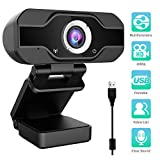 Aiglam PC Webcam, 1080P Full HD PC Kamera mit Mikrofon USB,H.264-Komprimierung Schnellere Uploads,für Video Chat Streaming (Schwarz) (Black New)