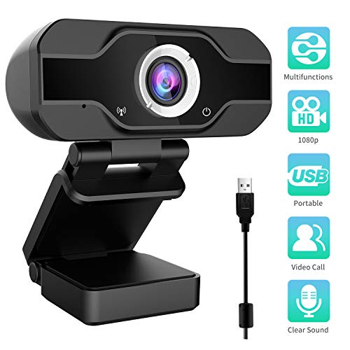 Aiglam Webcam 1080P, Full HD con Microfono Stereo elecamera PC Microfoni Audio Stereo ridurre Il Rumore per Video Chat e Registrazione (Nero)