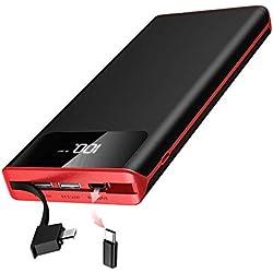 Batterie Externe 25000mAh Power Bank et Deux Adaptateurs Compatibles Chargeur Portable Deux Entrées & 3 Ports Haute Vitesse et Technologie Digi-Power pour tous les smartphones Tablette USB Via Device