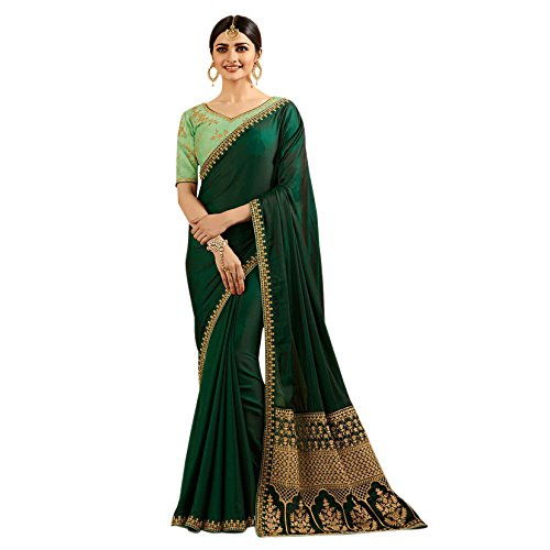Queen Fashion Hub Women's Silk Embroidery Latest Designer Saree (FGBGT11571_Green_With Blouse Piece)