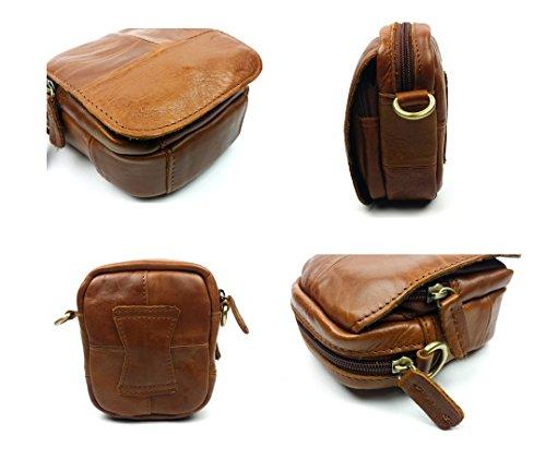 Everdoss Herren echt Leder Vintage mini Gürteltasche Umhängetasche klein Kuriertaschen Crossbody Schultertasche Messenger Bag Braun