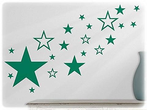 wandfabrik - Wandtattoo - 82 praktische Sterne in grün