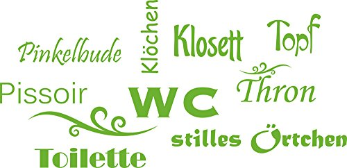 GRAZDesign 650160_30_063 Wandtattoo Wand-Worte WC Topf Klosett Thron - lustig | WC/Toilette | Badezimmer-Wände mit Aufkleber Gestalten (62x30cm // 063 lindgrün)