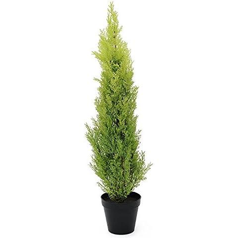 Ciprés artificial en tiesto decorativo, 90 cm – resistente a la intemperie - planta artificial / árbol sintético - artplants