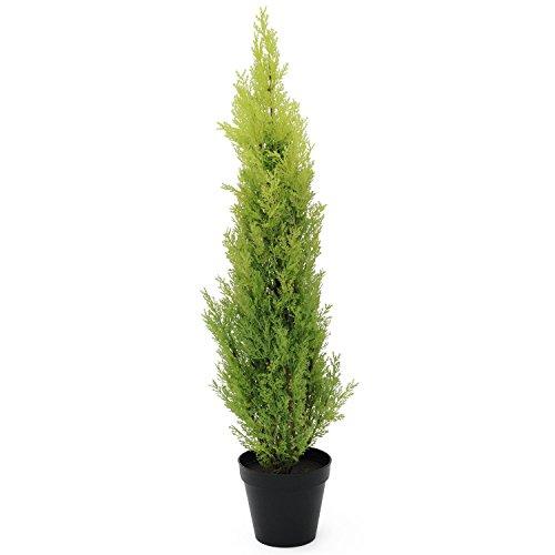 artplants Künstliche Zypresse Spring im Dekotopf, 90 cm – wetterfest – Künstlicher Zeder/Künstliche Konifere