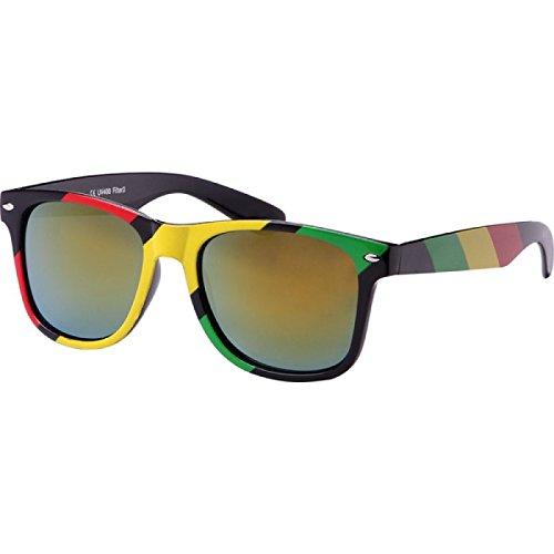 Chic-Net Sonnenbrille rot gelb grün Rasta Streifen Nerdbrille verspiegelt 400 UV Wayfarer...