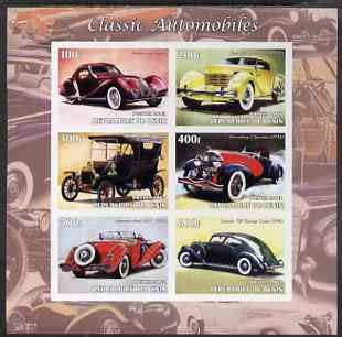 Talbots Mint (Benin 2003 Classic Automobiles imperf sheetlet 6 values u/m CARS TALBOT CORD FORD MERCEDES LINCOLN JANDRSTAMPS)