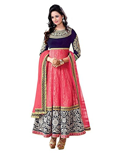 1 Stop Fashion Pink & Blue Semi-Stitched Velvet & Net Salwar Suit  available at amazon for Rs.799
