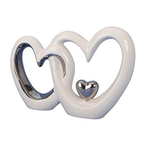 Skulptur zwei Herzen aus Keramik weiss silber Liebe Hochzeit Brautpaar Deko Herz