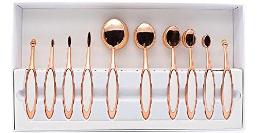 Ensemble de 10 pièces Pro beauty de Dolovemk : miroir ovale, lot de brosses de maquillage, kits cosmétiques (poignée recouverte de silicone)