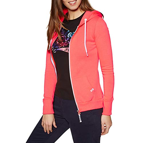 Superdry La Athletic Womens Zip Hoody Large City Neon Coral Athletic Zip-front Sweatshirt