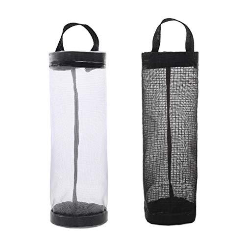 TOPBATHY 2 stücke Plastiktüten Halter Einkaufstüte Halter Küche Müllbeutel Dispenser (Schwarz + Grau) -