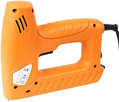Timbertech - Grapadora eléctrica con 400 grapas y 100 clavos (aprox. 25/19/6 cm) - color naranja