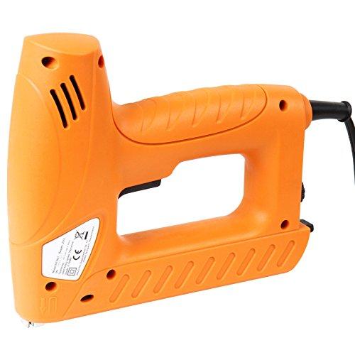 Timbertech Elektrotacker inklusive 400 Klammern und 100 Nägel mit Sicherheitsschalter und Anti-Stau-Mechanismus für Heimwerker und Bastler ideal für Holz, Textilien, Polster u.v.m.