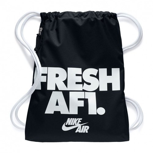 Nike Heritage Gymsac, Sacca Sport Tempo Libero Adulto Unisex, (Nero Bianco), Taglia Unica (13 L)
