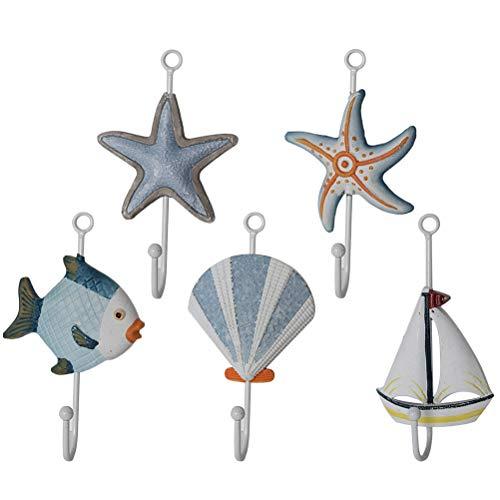 LIOOBO Haken Fisch Seestern Seemuschel Segelboot Form Maritime Wanddeko Kleiderhaken Wandhaken Handtuchhaken 5 Stücke (Kleiderhaken Fisch)