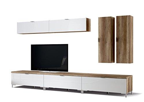 CS Schmalmöbel 45.150.505/043 3x TV-Board Cleo Typ 10 + 4 Hängeregale, 218 x 50 x 175 cm, wildeiche / weißglas