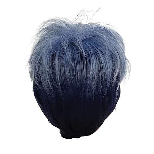 HCFKJ 2019 Perücke Sexy Kurze wellenförmige gelockte Trennung synthetische Perücke Wave Schwarz Damen Gradient Blue Perücken -