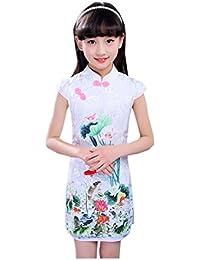 XueXian(TM) Niña Vestido Cheongsam Corto de Estilo Chino Estampado de Flores de Algodón