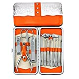 Belle 13 in 1 Nail Scissor Clippers Set, Vogue Chrome Steel Tweezers Manicure Pedicure Tools Set, Orange