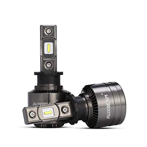 Auxbeam 2 x H3 Fari LED 6500k 70w 8000lm Luci Anteriori Bianche Auto, Impermeabile, Con Decodificare, Ventilatore, Serie F-T1, Spazio Grigio