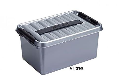 BOITE plastique grise avec couvercle et poignée 140x300x200mm fermeture noir (Qline Box 6L)