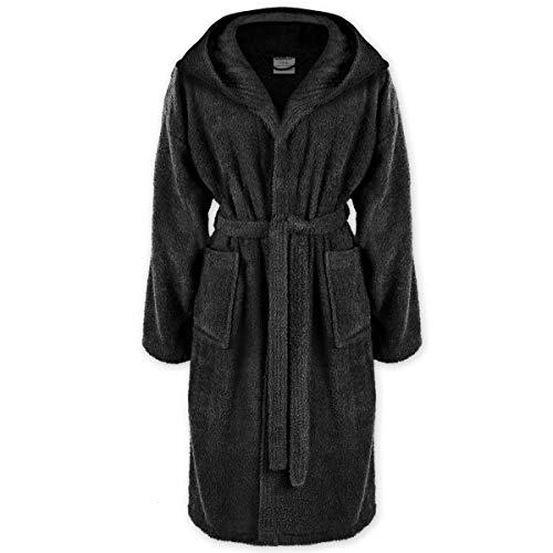 Gräfenstayn® Bademantel mit Kapuze aus 100% Baumwolle mit Öko-Tex Siegel in vielen Farben und Größen super saugfähig für Damen & Herren (L, Schwarz)