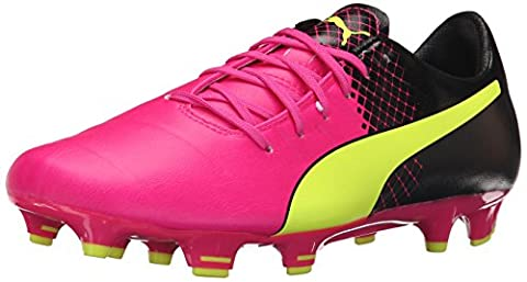 PUMA Men's Evopower 3.3 Tricks FG Limited Edition Soccer Cleat, Pink Glow/Safety Yellow, 11.5 D US