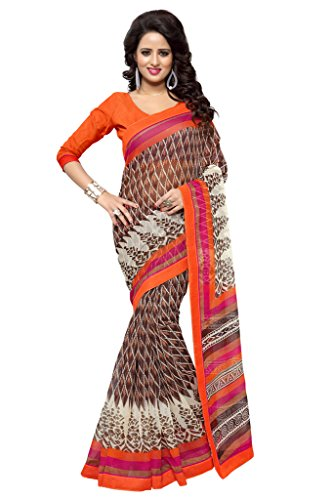 SOURBH Women's Art Silk (Super Net) Printed Saree (2359_Brown,Orange)  available at amazon for Rs.695