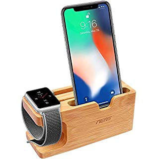 Aerb Apple Watch Ladestation, iWatch Bambus Holz Ladestation Halterung Docking Station Lager Cradle Holder W Name Card Slot for Apple Watch and iPhone 8/8 Plus 7/6/5,Galaxy S7/S7 Edge