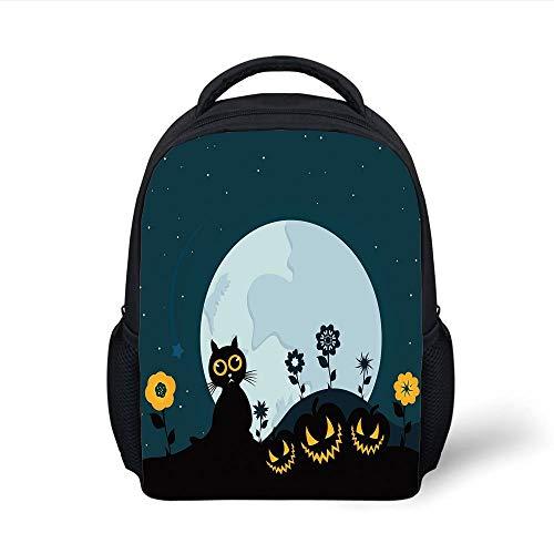Kids School Backpack Halloween Decorations,Cute Cat Moon on Floral Field with Starry Night Sky Star Cartoon Art,Blue Black Plain Bookbag Travel Daypack
