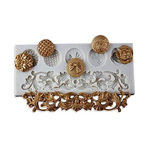BANGBANGSHOP Molde de silicona barroco para decoración de tartas, para decoración de pan, hecho a mano Style 01