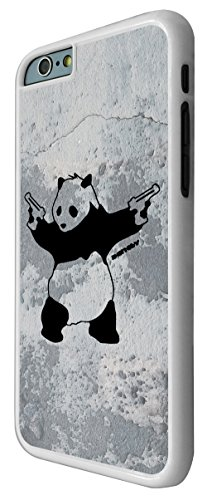 550-Banksy Graffiti Art Wall Shooting Panda Coque iPhone 66S 4.7Design Fashion Trend Case Back Cover Métal et Plastique-Blanc