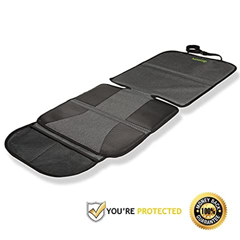 Homecogs Deluxe Car Seat Protector - Protects Car Seats from Damage and Spills - Heavy Duty Reinforced Fabric - Anti-slip Backing - ISOFIX - Organiser Pockets - Child and Baby Seat Cover / Liner