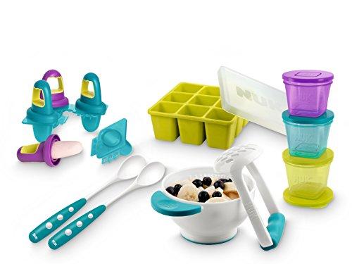 NUK 10225112 Fresh Foods-Set, mit je 1x Pürierset, Eisförmchen, Gefrierform, Frischebehälter, 2x gratis Fütterlöffel