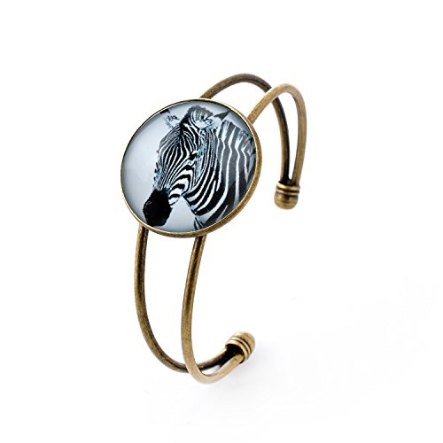Zebra Armband (lureme® Einfach Schmuck Zeit Gem Series Zebra Charme Cuff Armreif Armband for Women and Girl (06002695))