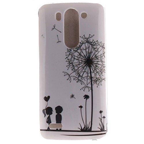 Funda Silicona LG G3 S, KATUMO® Carcasa Dura Transparente Gel para LG G3 S(LG G3 Mini) Funda Goma Caja Cubierta Clear Cover-Diente de León Blanco