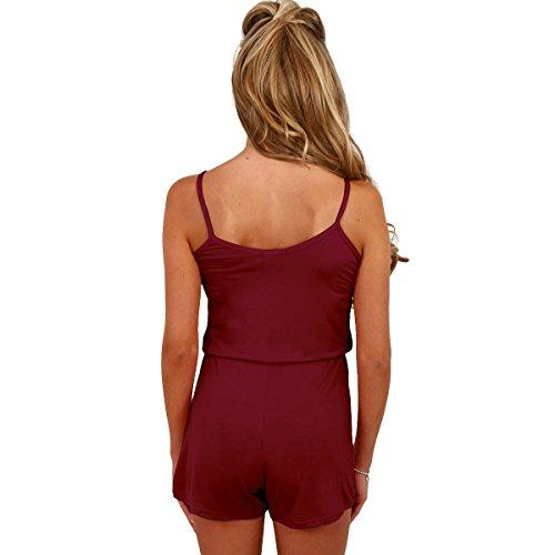 Fletion Damen V-Ausschnitt Sexy Kurzer Overall,Schwarz,S Rotwein
